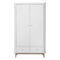Armoire 2 portes Wood - Chêne / Blanc