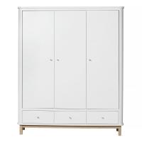 Armoire 3 portes Wood - Chêne / Blanc