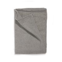 Plaid tricoté en laine - Vert de gris / Fils dorés