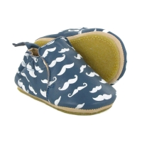 Chaussons Blublu Moustache - Denim/Blanc