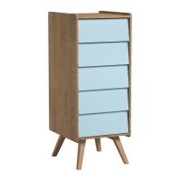 Chiffonnier 5 tiroirs Vintage - Chêne/Bleu