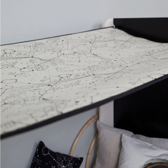 ciel de lit 80 x 200 cm pour lit ketara blanc noir lumokids pour chambre enfant les. Black Bedroom Furniture Sets. Home Design Ideas