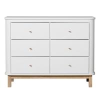Commode 6 tiroirs Wood - Chêne / Blanc