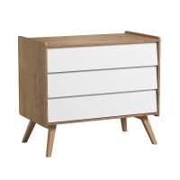 Commode 3 tiroirs à langer Vintage - Chêne/Blanc