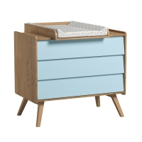 Commode 3 tiroirs à langer Vintage - Chêne/Bleu