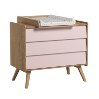 Commode 3 tiroirs à langer Vintage - Chêne/Rose