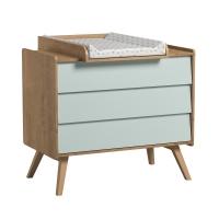 Commode 3 tiroirs à langer Vintage - Chêne/Vert