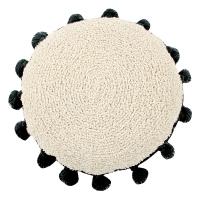 Coussin Circle pompons - Noir