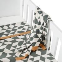 Couverture en tricot On The Go - Triangle - Gris/Crème