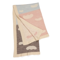 Couverture jacquard enfant WACA clouds - Rose/Bleu/Gris