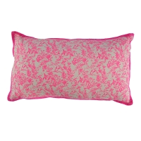 Coussin rectangle Jouy - Rose Fluo