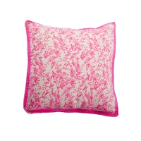 Petit coussin Jouy - Rose fluo