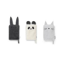 3 gants, Lapin, Panda, Chat - Gris