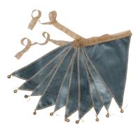 Guirlande fanions et grelots en velours - Bleu gris
