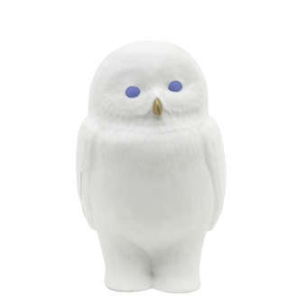 Lampe Chouette Akira aux yeux bleux - Blanc/Bleu
