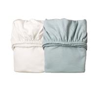 Lot de 2 draps housses pour berceau Leander - Blanc/Bleu pâle