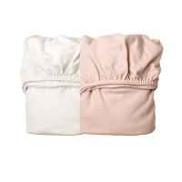 Lot de 2 draps housses pour berceau Leander - Blanc/Rose pâle