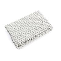 Housse de couette en lin 80 x 120 Carreaux - Blanc/Noir