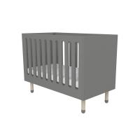 Lit bébé à barreaux - Gris
