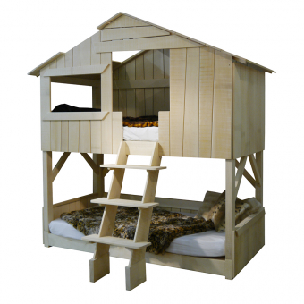 lit cabane superpos tilleul naturel mathy by bols pour chambre enfant les enfants du design. Black Bedroom Furniture Sets. Home Design Ideas