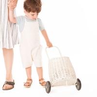 Panier à roulettes en rotin Luggy enfants - Blanc