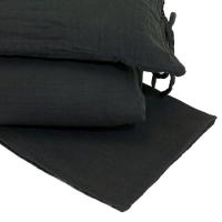 Parure de lit en gaze de coton - Gris anthracite