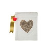 4 petits sacs en tissu Coeur - Ecru