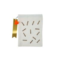 4 petits sacs en tissu Confettis - Ecru