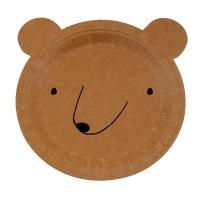 12 petites assiettes Ours - Brun