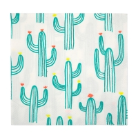 20 grandes serviettes Cactus - Vert tropical