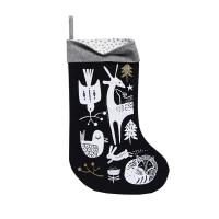 Chaussette de Noël Animaux de l'hiver - Noir
