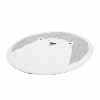 Tapis Pasu Grizzly en feutre 120 cm - Blanc