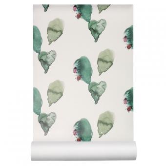 Papier peint coccinelles blanc cass vert nofred pour for Papier peint blanc casse
