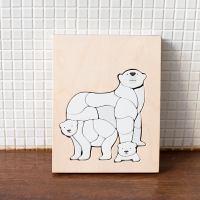 Puzzle Ours blancs en bois - Bleu/Blanc
