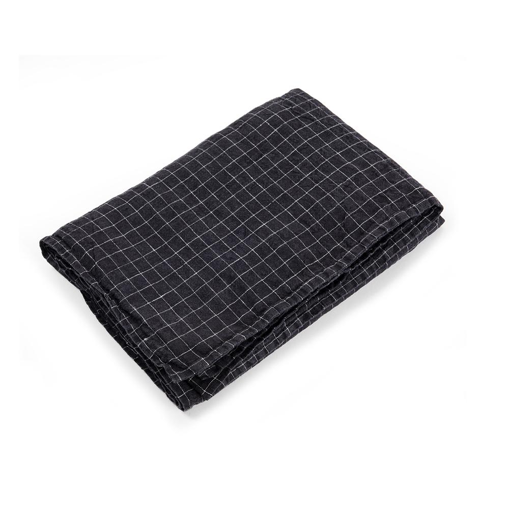 housse de couette en lin 80 x 120 carreaux noir linge. Black Bedroom Furniture Sets. Home Design Ideas