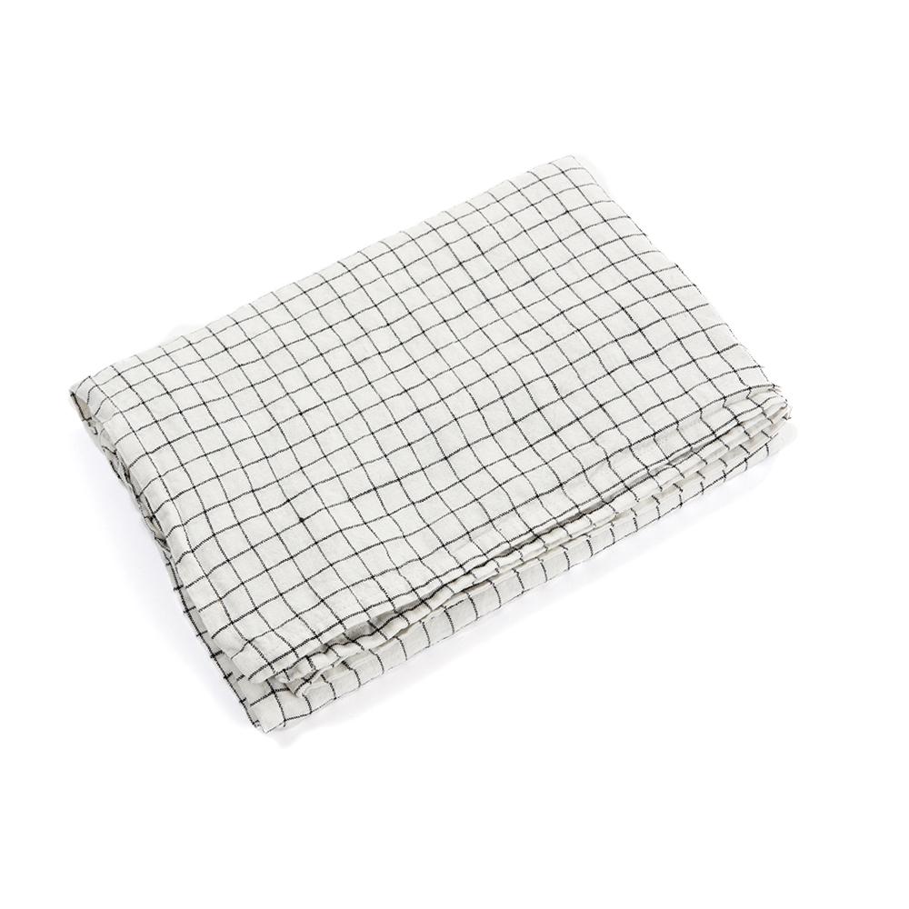 housse de couette en lin 80 x 120 carreaux blanc noir