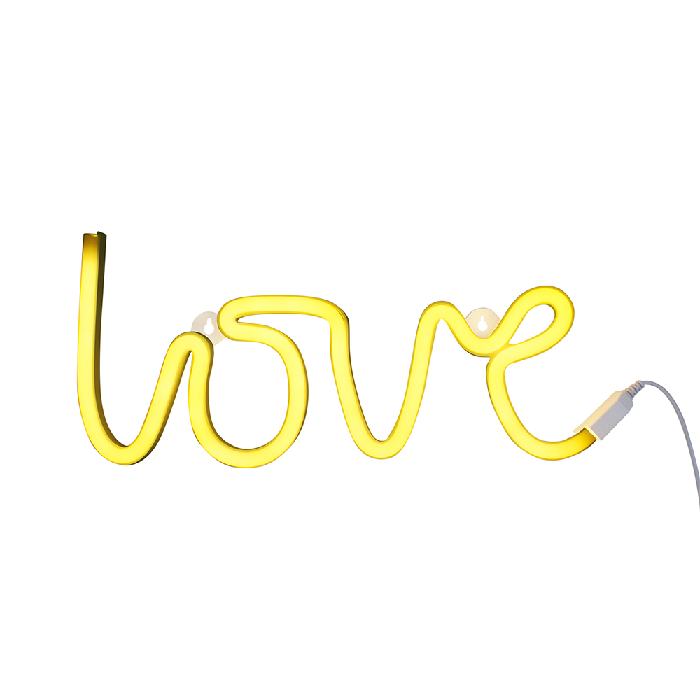 Lampe murale n on love jaune a little lovely company for Decoration murale neon