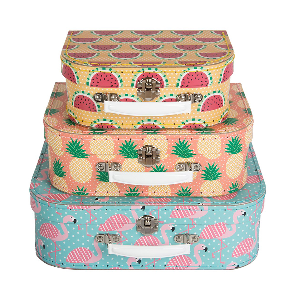 set de 3 valises tropical summer rjb stone pour chambre enfant les enfants du design. Black Bedroom Furniture Sets. Home Design Ideas